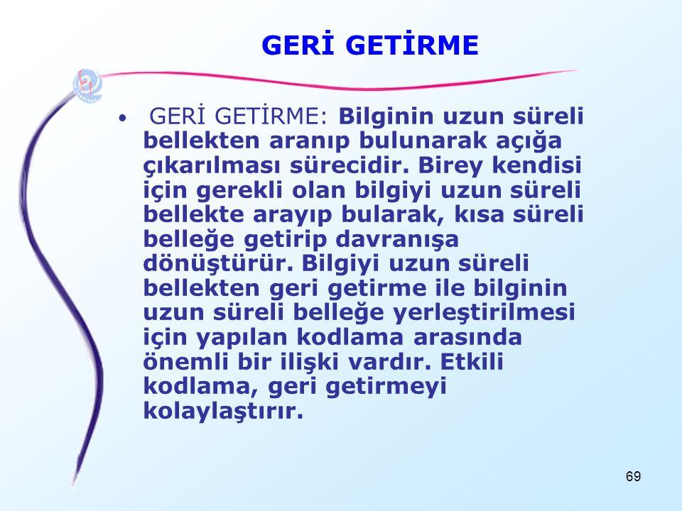GERİ GETİRME
