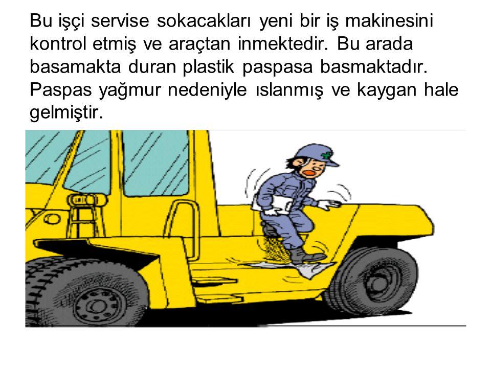 Bu işçi servise sokacakları yeni bir iş makinesini kontrol etmiş ve araçtan inmektedir.