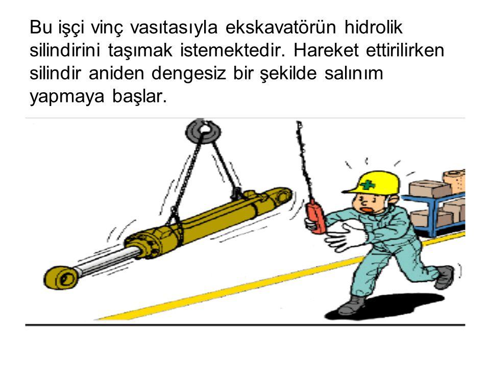Bu işçi vinç vasıtasıyla ekskavatörün hidrolik silindirini taşımak istemektedir.