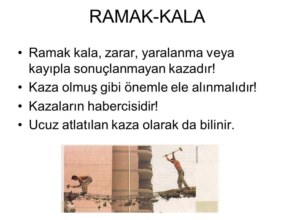 RAMAK-KALA Ramak kala, zarar, yaralanma veya kayıpla sonuçlanmayan kazadır! Kaza olmuş gibi önemle ele alınmalıdır!