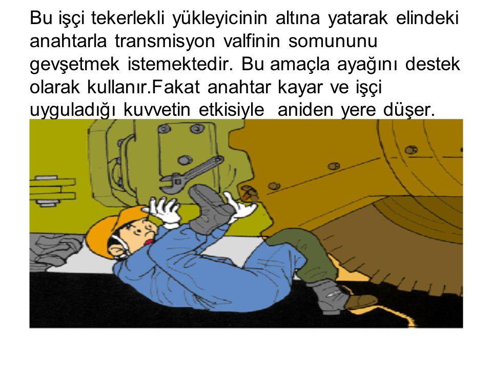 Bu işçi tekerlekli yükleyicinin altına yatarak elindeki anahtarla transmisyon valfinin somununu gevşetmek istemektedir.