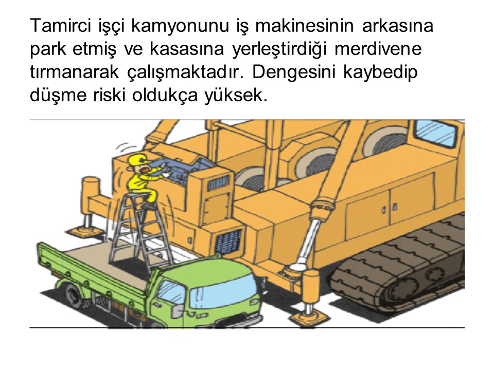 Tamirci işçi kamyonunu iş makinesinin arkasına park etmiş ve kasasına yerleştirdiği merdivene tırmanarak çalışmaktadır.