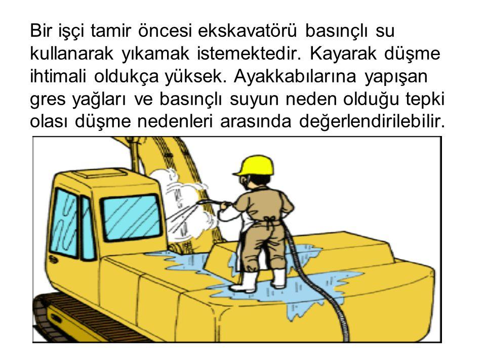 Bir işçi tamir öncesi ekskavatörü basınçlı su kullanarak yıkamak istemektedir.