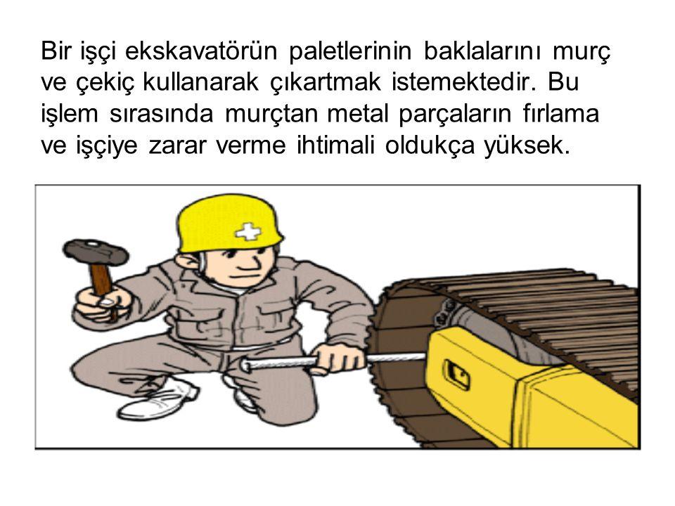 Bir işçi ekskavatörün paletlerinin baklalarını murç ve çekiç kullanarak çıkartmak istemektedir.
