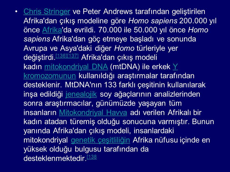 Chris Stringer ve Peter Andrews tarafından geliştirilen Afrika dan çıkış modeline göre Homo sapiens 200.000 yıl önce Afrika da evrildi.