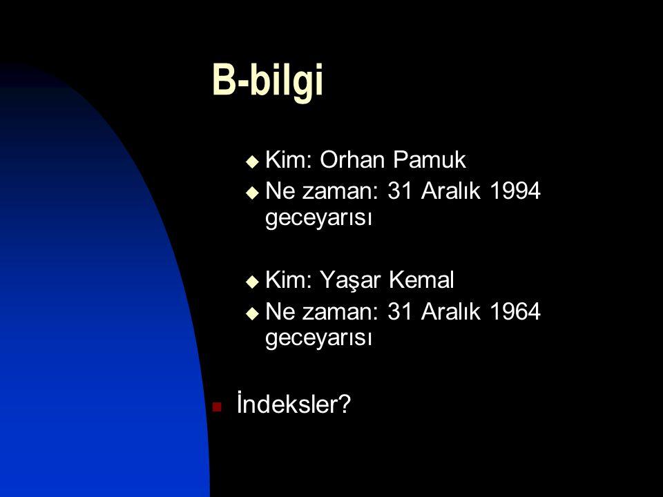 B-bilgi İndeksler Kim: Orhan Pamuk