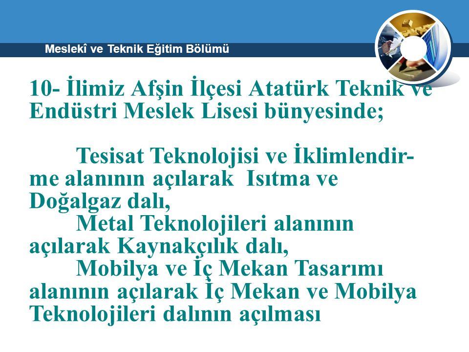 Meslekî ve Teknik Eğitim Bölümü