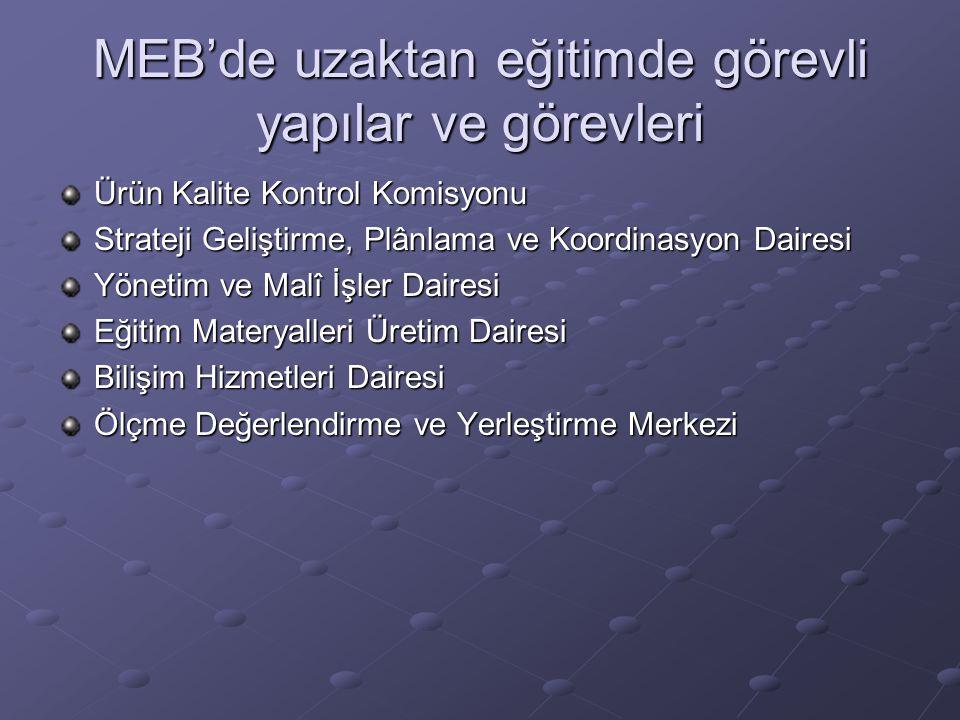 MEB'de uzaktan eğitimde görevli yapılar ve görevleri