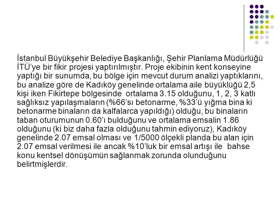 İstanbul Büyükşehir Belediye Başkanlığı, Şehir Planlama Müdürlüğü İTÜ'ye bir fikir projesi yaptırılmıştır.