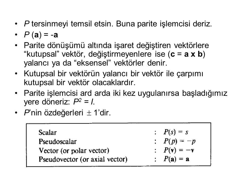 P tersinmeyi temsil etsin. Buna parite işlemcisi deriz.