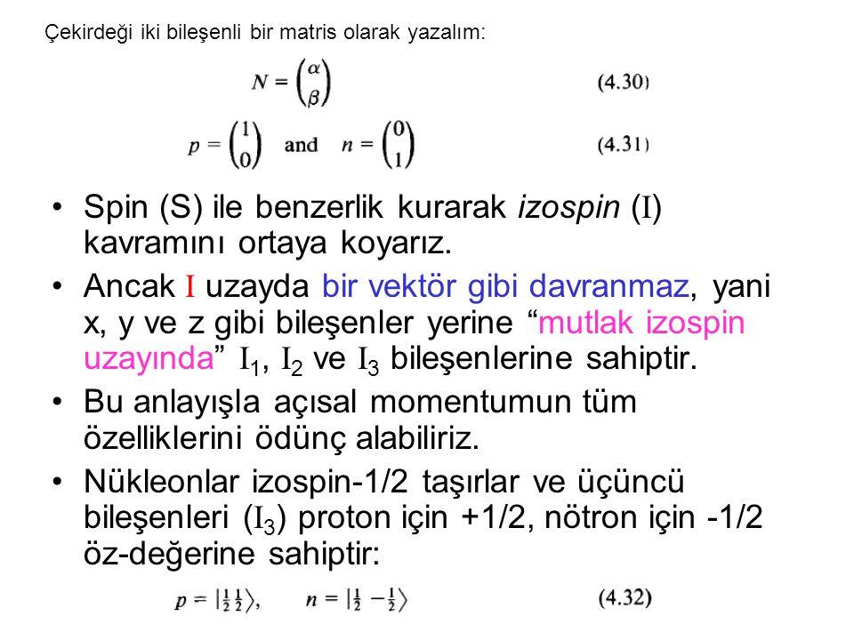 Spin (S) ile benzerlik kurarak izospin (I) kavramını ortaya koyarız.