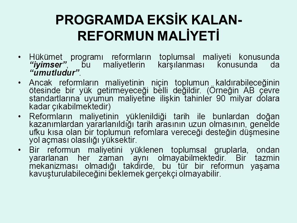 PROGRAMDA EKSİK KALAN-REFORMUN MALİYETİ
