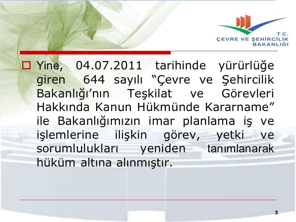 Bu nedenle, daha evvel Mülga Bayındırlık ve İskan Bakanlığınca 3194 sayılı İmar Kanunu'nun 9. maddesi uyarınca, gerçekleştirilen planlama iş ve işlemleri, 644 sayılı KHK ile yeniden tanımlandırılarak yapılandırılmıştır.