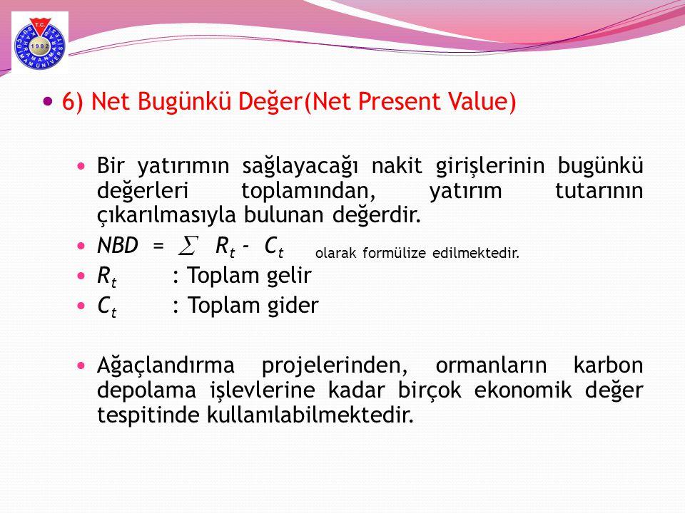 6) Net Bugünkü Değer(Net Present Value)