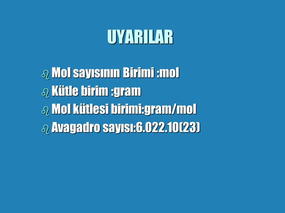 UYARILAR Mol sayısının Birimi :mol Kütle birim :gram