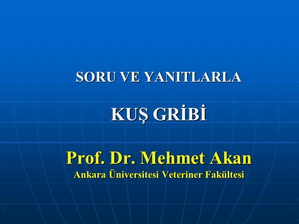 SORU VE YANITLARLA KUŞ GRİBİ Prof. Dr
