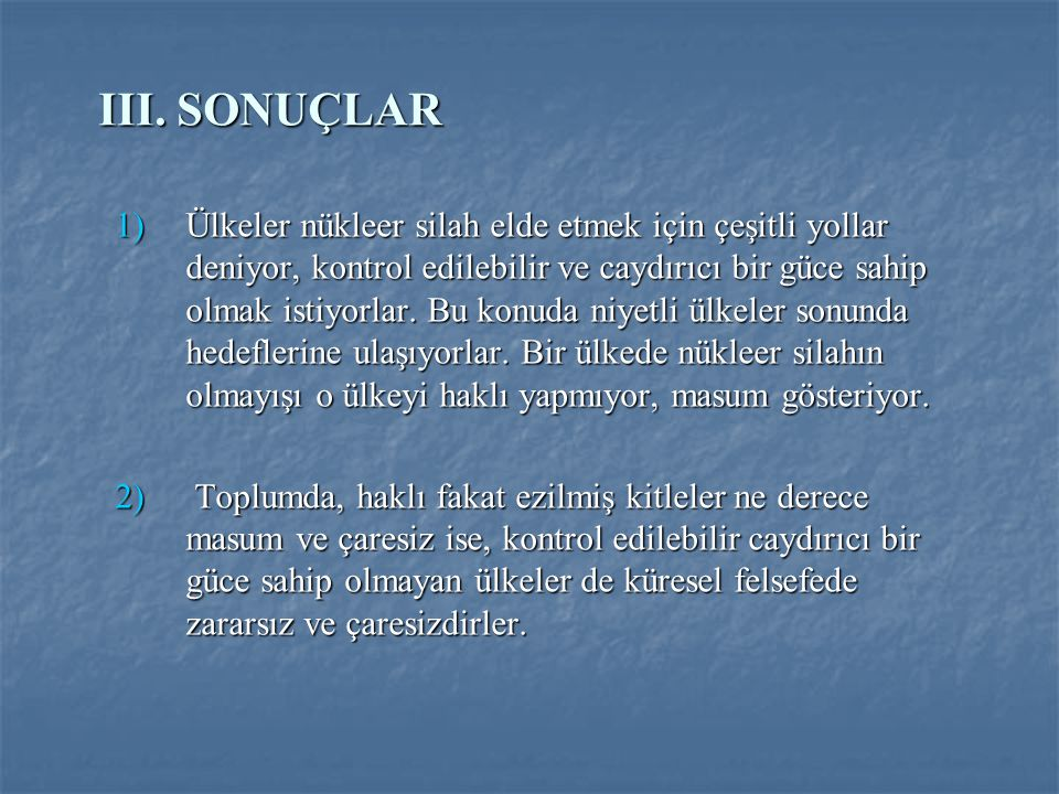 III. SONUÇLAR