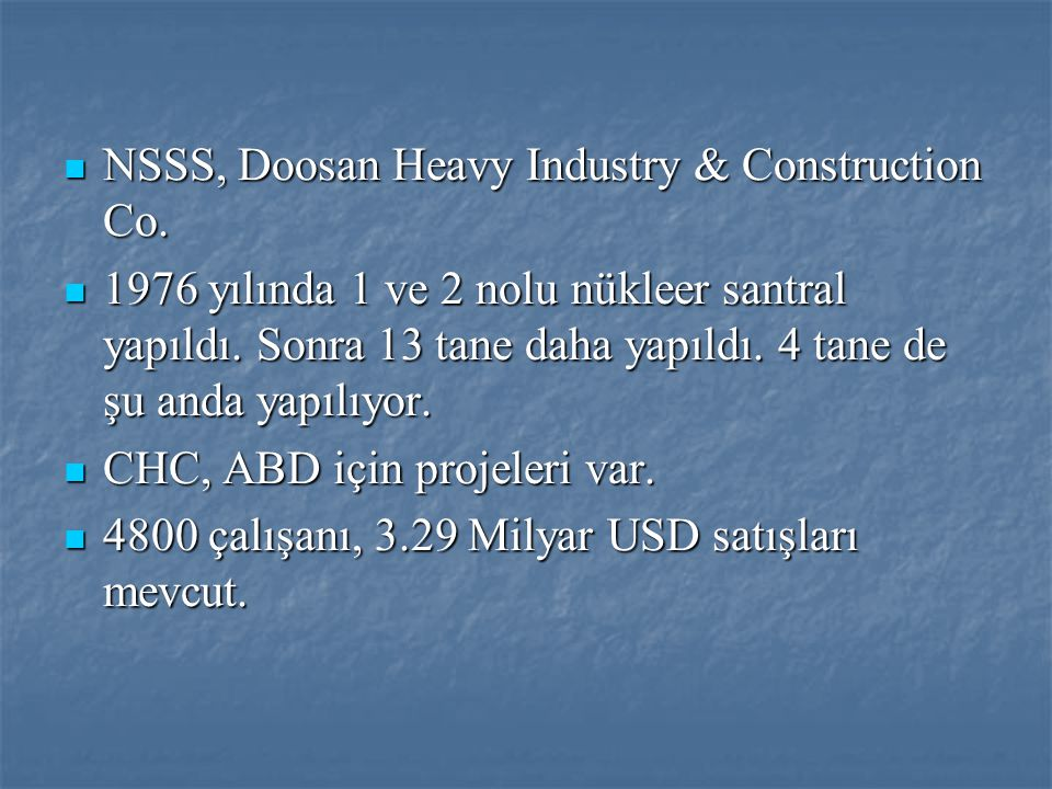 NSSS, Doosan Heavy Industry & Construction Co.