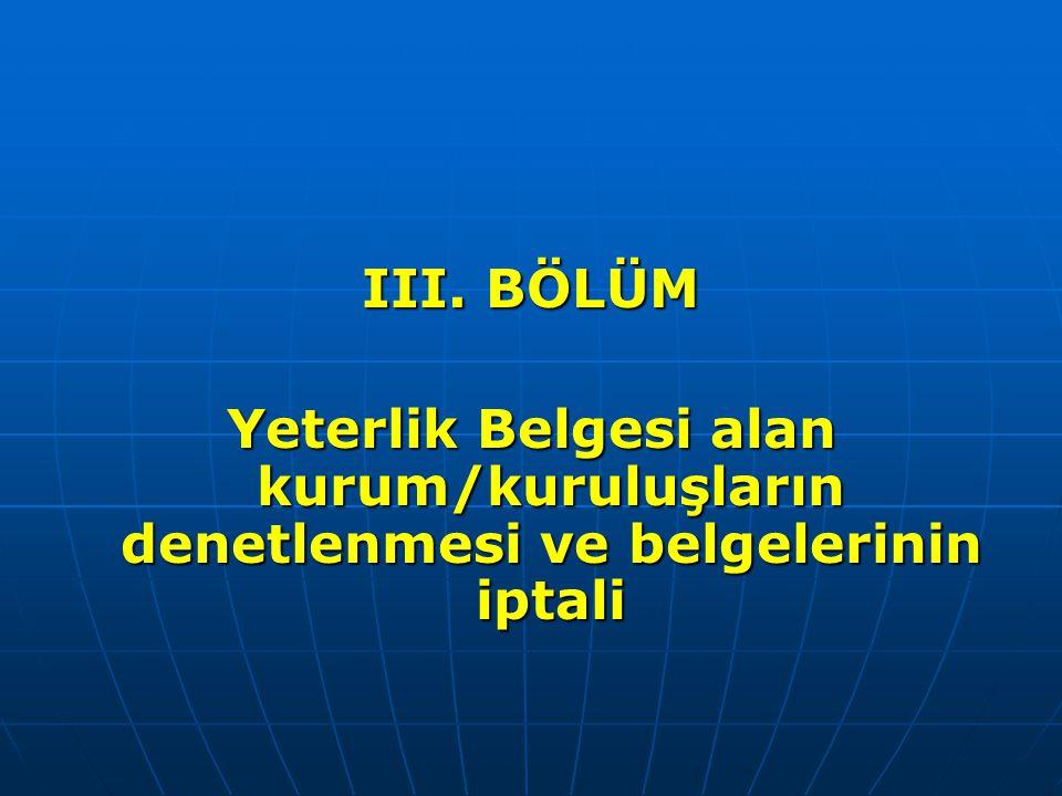 III. BÖLÜM Yeterlik Belgesi alan kurum/kuruluşların denetlenmesi ve belgelerinin iptali