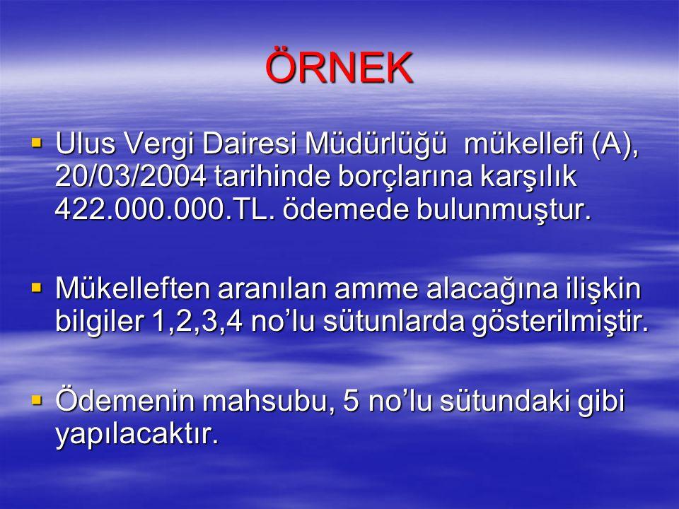 ÖRNEK Ulus Vergi Dairesi Müdürlüğü mükellefi (A), 20/03/2004 tarihinde borçlarına karşılık 422.000.000.TL. ödemede bulunmuştur.