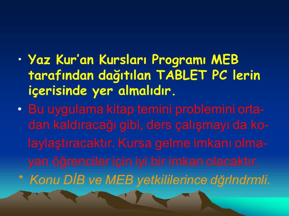 Yaz Kur'an Kursları Programı MEB tarafından dağıtılan TABLET PC lerin içerisinde yer almalıdır.