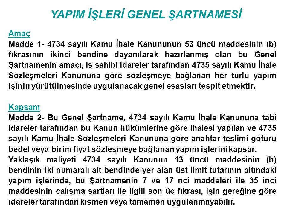YAPIM İŞLERİ GENEL ŞARTNAMESİ