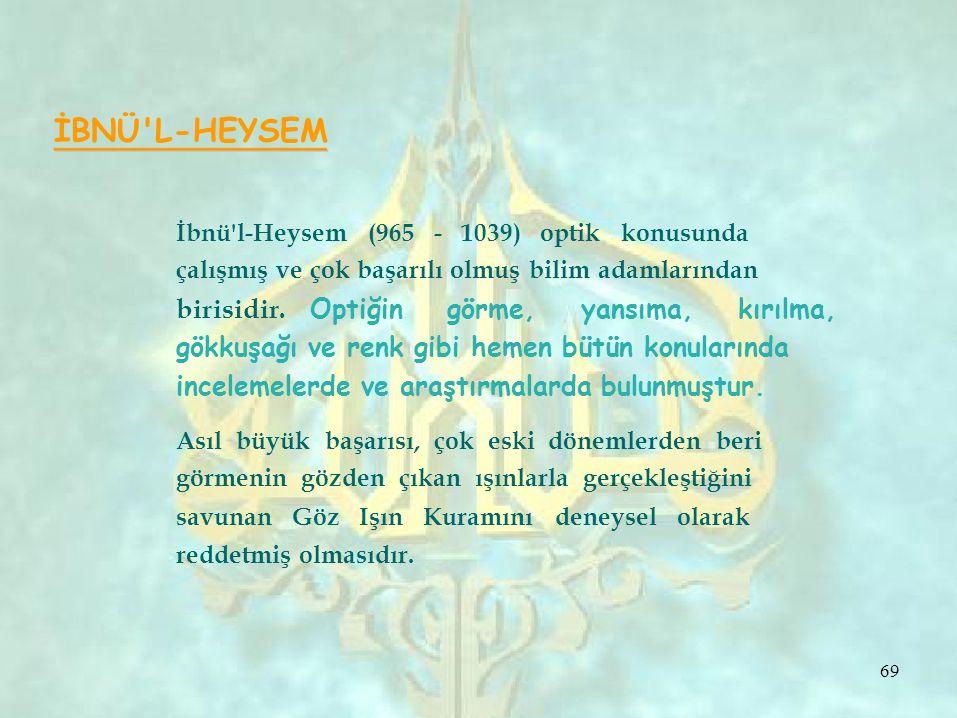 İBNÜ L-HEYSEM İbnü l-Heysem (965 - 1039) optik konusunda