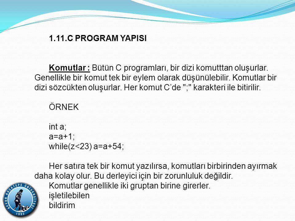 1.11.C PROGRAM YAPISI