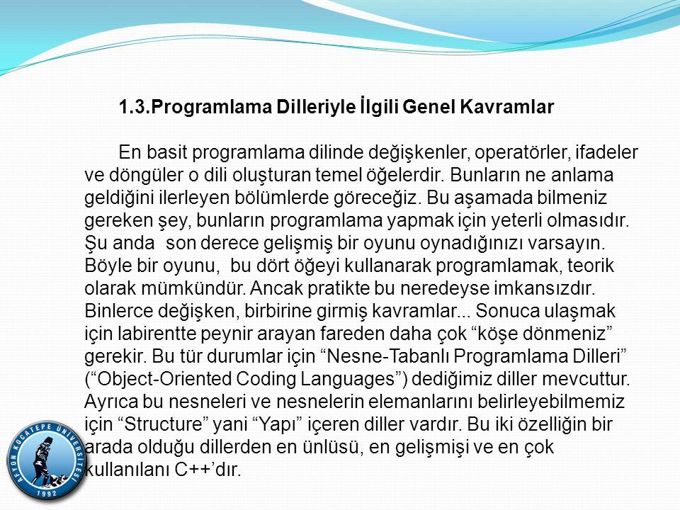 1.3.Programlama Dilleriyle İlgili Genel Kavramlar