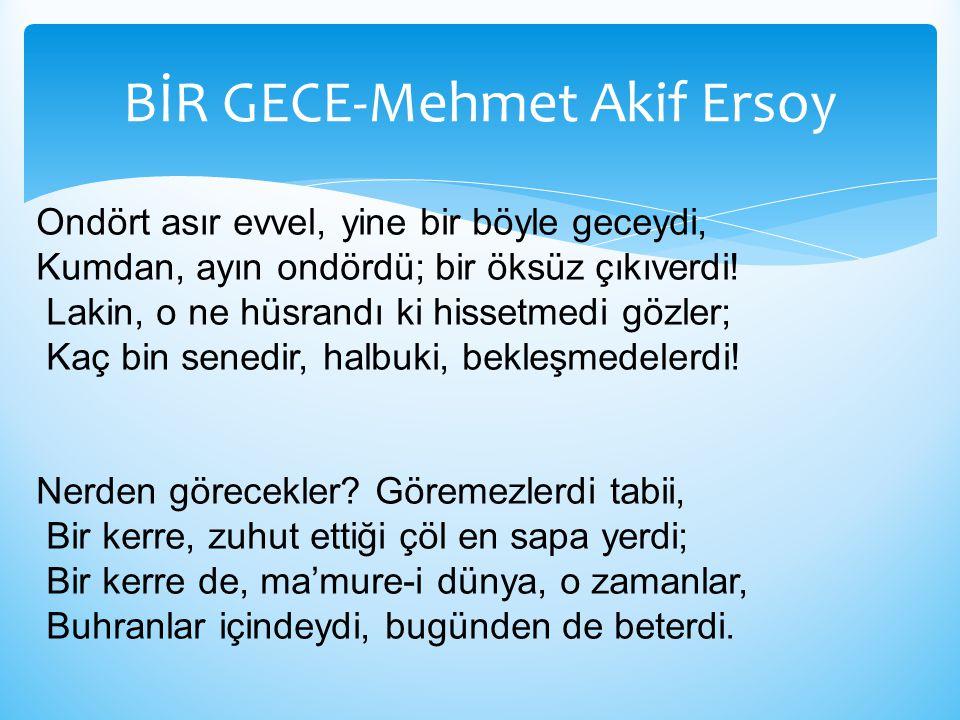 BİR GECE-Mehmet Akif Ersoy
