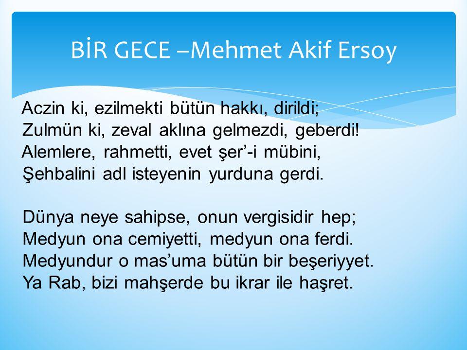 BİR GECE –Mehmet Akif Ersoy