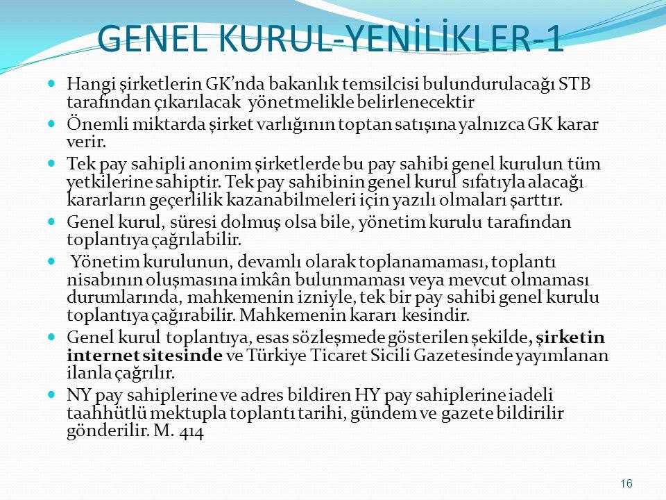GENEL KURUL-YENİLİKLER-1