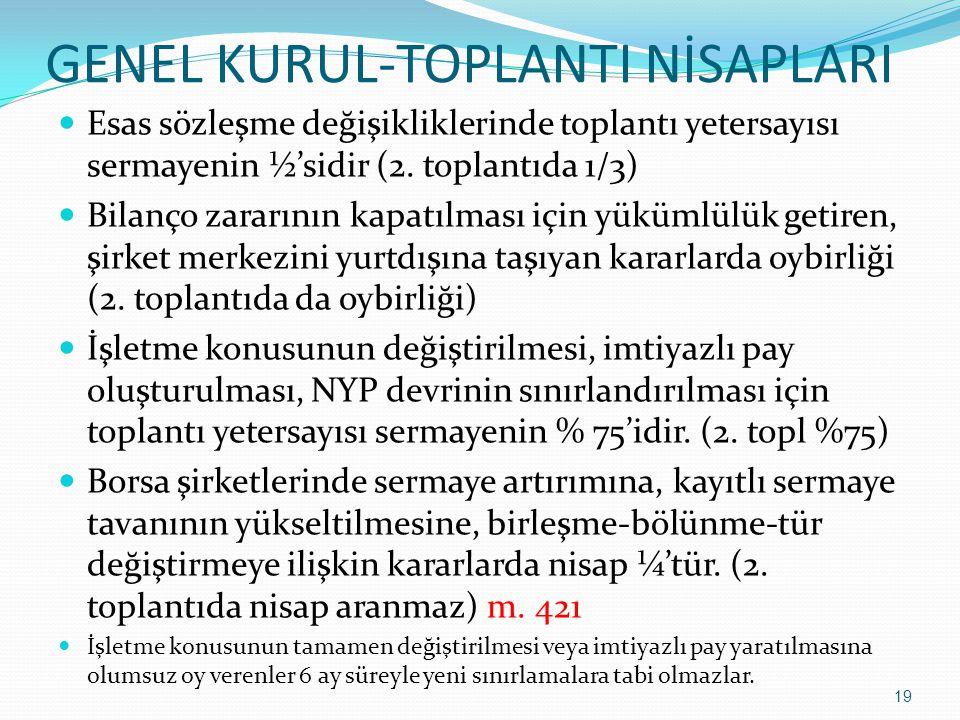 GENEL KURUL-TOPLANTI NİSAPLARI