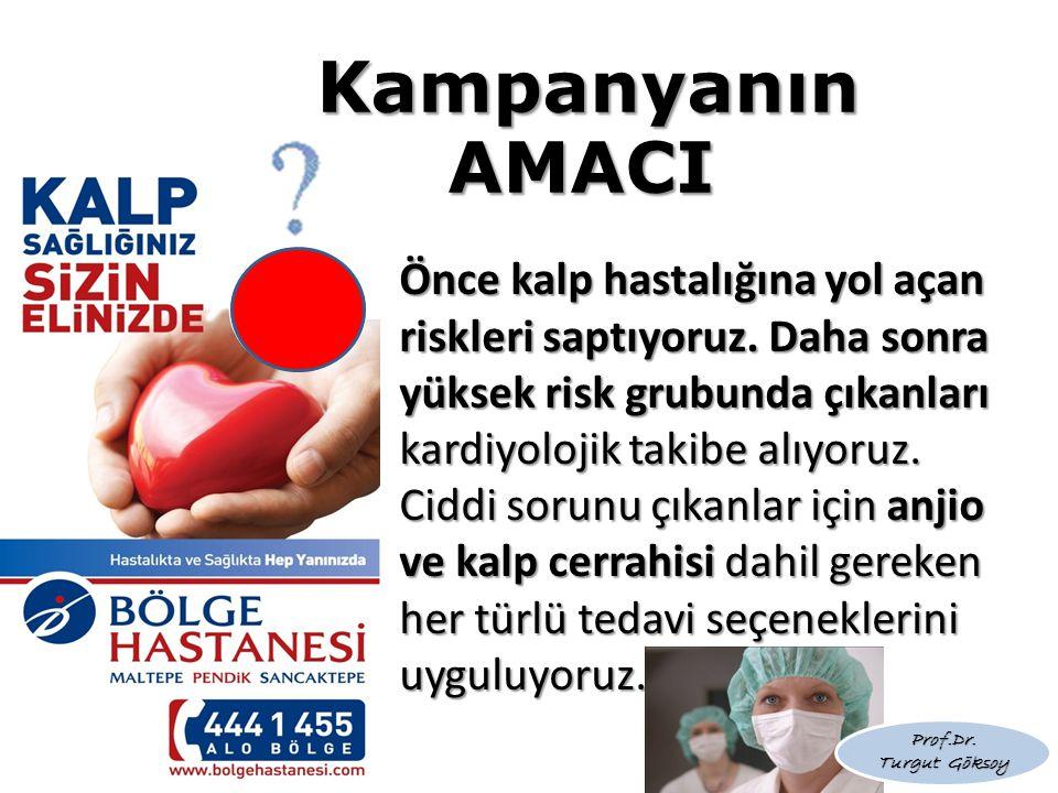 Kampanyanın AMACI Önce kalp hastalığına yol açan riskleri saptıyoruz. Daha sonra yüksek risk grubunda çıkanları kardiyolojik takibe alıyoruz.