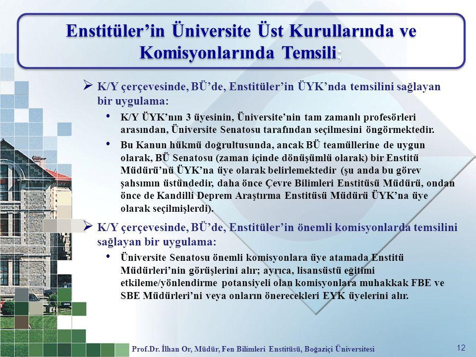 Enstitüler'in Üniversite Üst Kurullarında ve Komisyonlarında Temsili;
