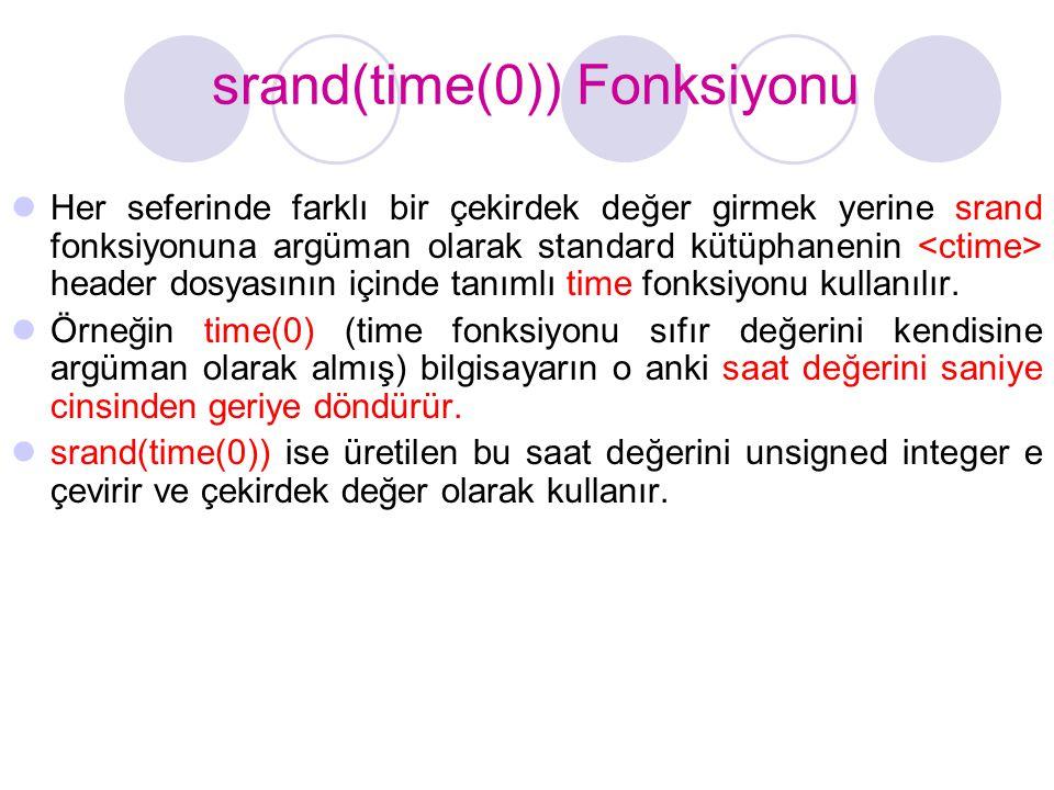 srand(time(0)) Fonksiyonu
