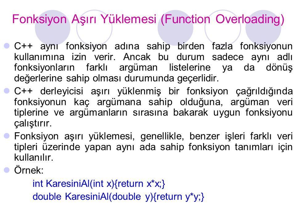 Fonksiyon Aşırı Yüklemesi (Function Overloading)
