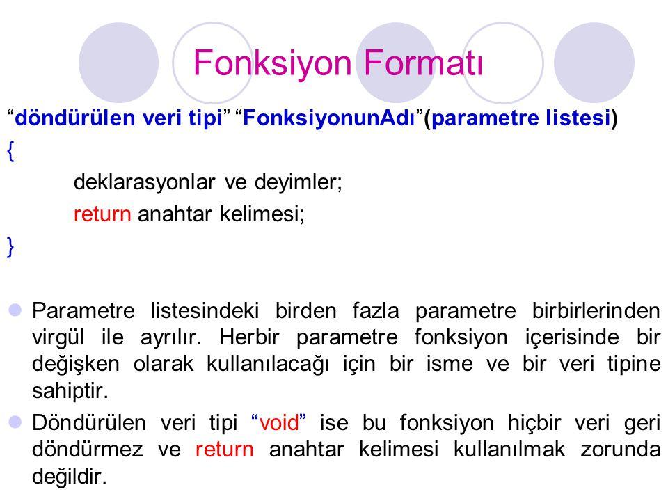 Fonksiyon Formatı döndürülen veri tipi FonksiyonunAdı (parametre listesi) { deklarasyonlar ve deyimler;