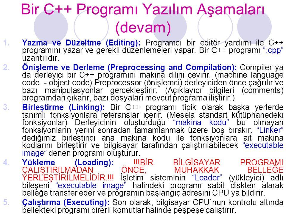 Bir C++ Programı Yazılım Aşamaları (devam)