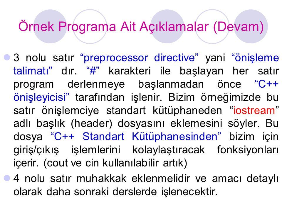 Örnek Programa Ait Açıklamalar (Devam)
