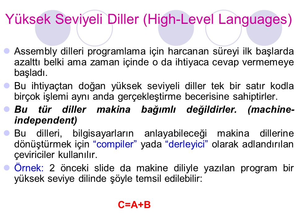 Yüksek Seviyeli Diller (High-Level Languages)