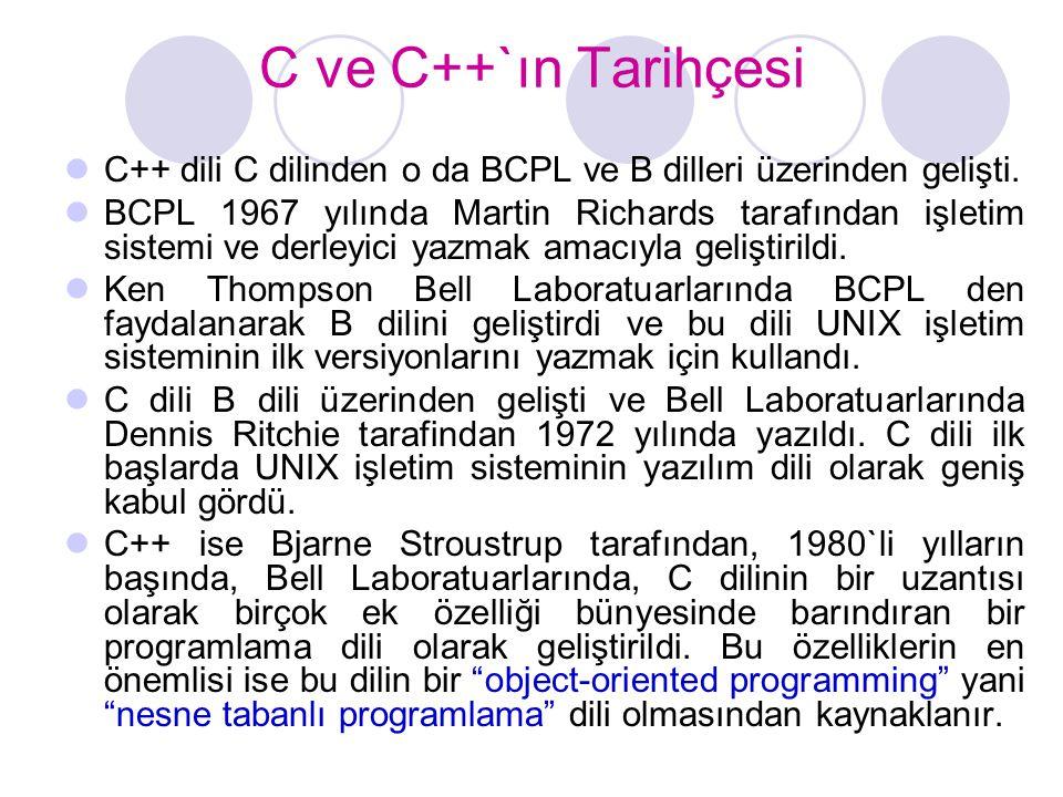 C ve C++`ın Tarihçesi C++ dili C dilinden o da BCPL ve B dilleri üzerinden gelişti.