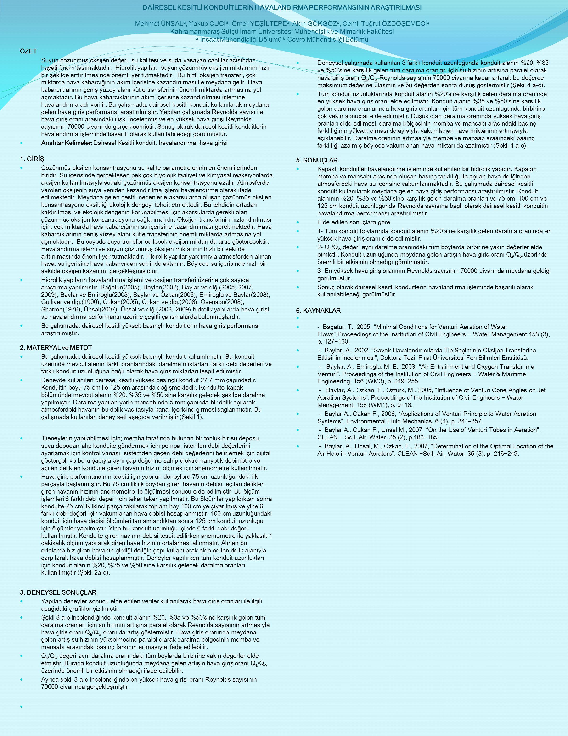 DAİRESEL KESİTLİ KONDUİTLERİN HAVALANDIRMA PERFORMANSININ ARAŞTIRILMASI Mehmet ÜNSALa, Yakup CUCİb, Ömer YEŞİLTEPEa, Akın GÖKGÖZa, Cemil Tuğrul ÖZDÖŞEMECİa Kahramanmaraş Sütçü İmam Üniversitesi Mühendislik ve Mimarlık Fakültesi a İnşaat Mühendisliği Bölümü b Çevre Mühendisliği Bölümü