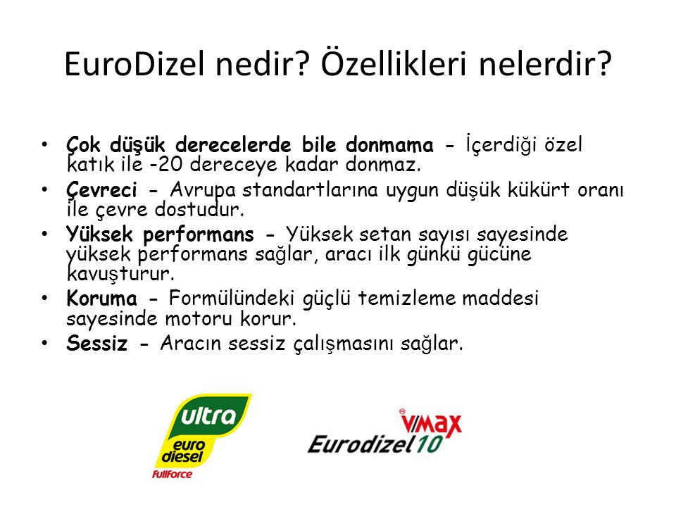 EuroDizel nedir Özellikleri nelerdir