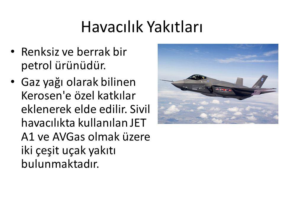 Havacılık Yakıtları Renksiz ve berrak bir petrol ürünüdür.