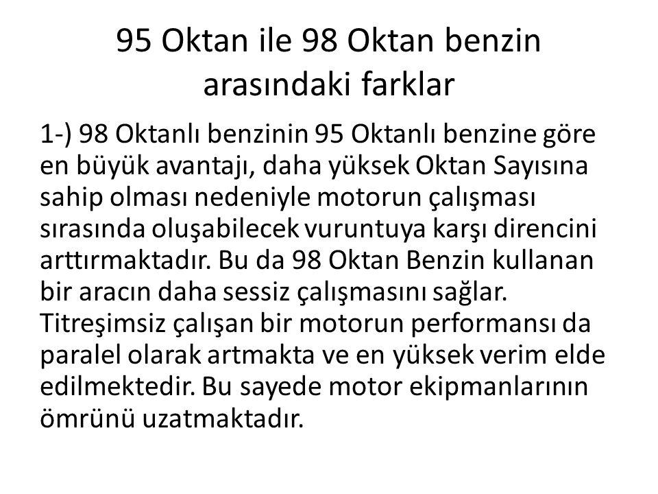 95 Oktan ile 98 Oktan benzin arasındaki farklar