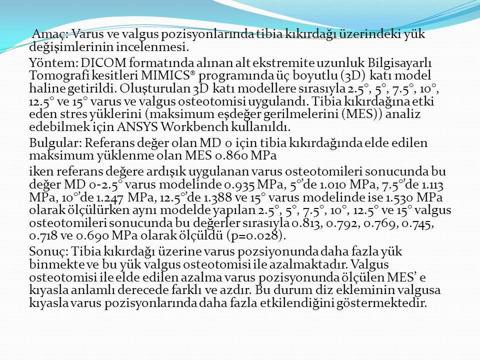 Amaç: Varus ve valgus pozisyonlarında tibia kıkırdağı üzerindeki yük değişimlerinin incelenmesi.