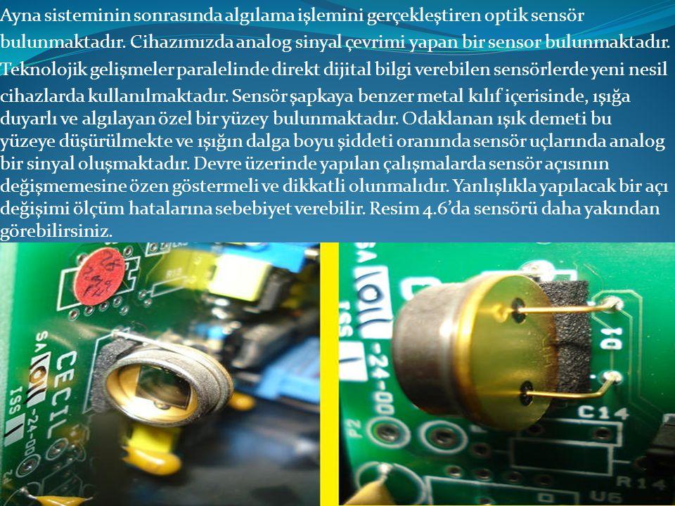 Ayna sisteminin sonrasında algılama işlemini gerçekleştiren optik sensör