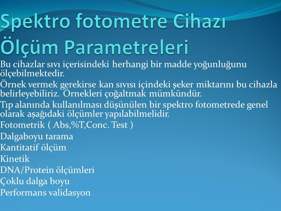 Spektro fotometre Cihazı Ölçüm Parametreleri