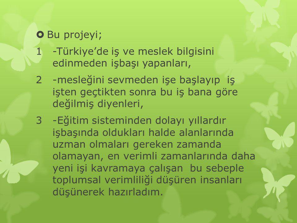 Bu projeyi; -Türkiye'de iş ve meslek bilgisini edinmeden işbaşı yapanları,